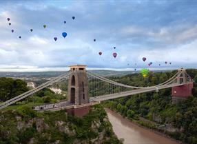 Hot air balloons over Clifton Suspension Bridge in Bristol