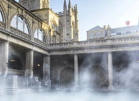 Steam rising from the Roman Baths