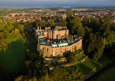 Aerial shot of Berkeley Castle Bristol